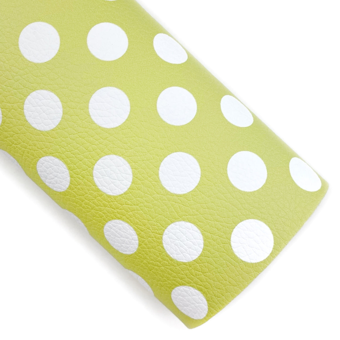 Chartreuse Large Polka Dots Vegan Leather