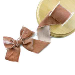 Dusty Mauve Raw Edge Silk Velvet Ribbon