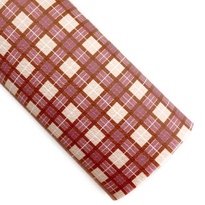 TerraCotta Tartan Plaid Vegan Leather