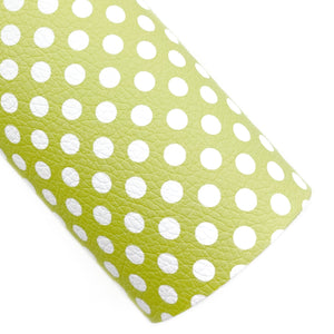 Chartreuse Polka Dots Vegan Leather