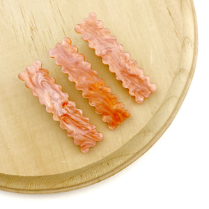 Fall Coral Rectangle Scalloped Hair Clips