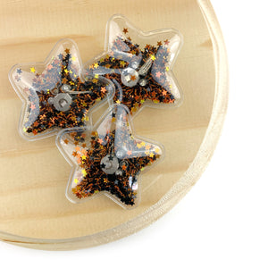 Orange & Black Light Up Star Shaker Appliques