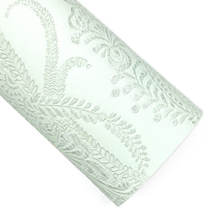 Melt Away Mint Applique Lace Embossed Vegan Leather