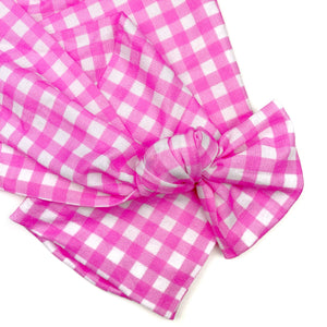 Pink Gingham Nylon Infinity Strip