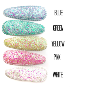 Set of 3 Iridescent Glitter Snap Clip Covers