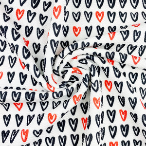Hand Drawn Hearts Bullet Fabric