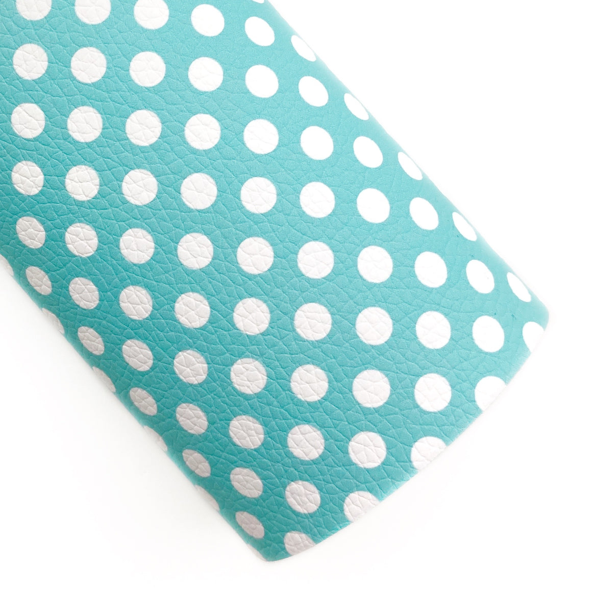 Blue Polka Dots Vegan Leather