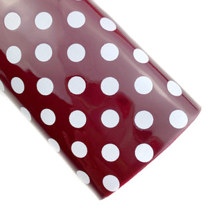Merlot Large Polka Dots Patent Vegan Leather