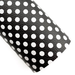 Black with White Polka Dots Vegan Leather