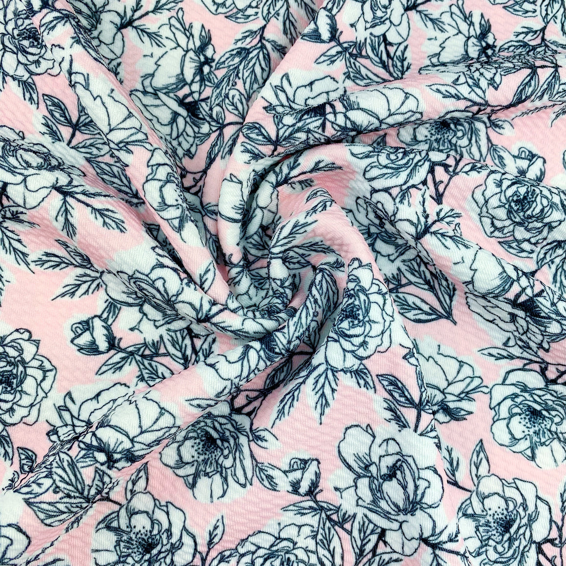 Blush Sketched Floral Bullet Fabric
