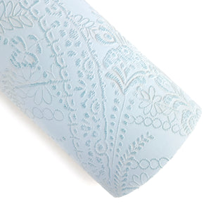 Powder Blue Applique Lace Embossed Vegan Leather