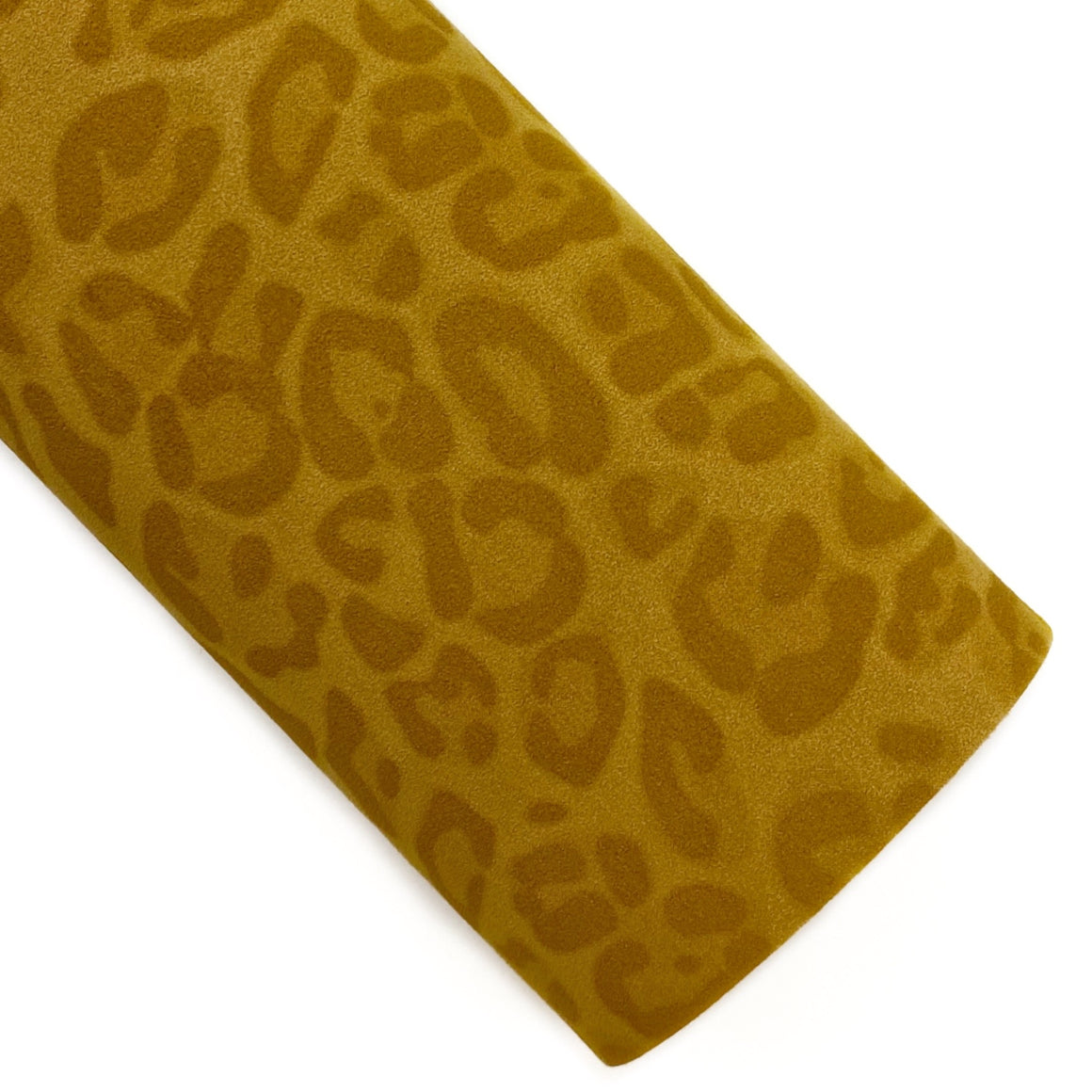 Mustard Leopard Suede Vegan Leather