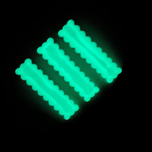 Glow in the Dark Rectangle Scalloped Hair Clips