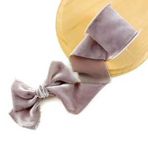 Dusty Lavender Raw Edge Silk Velvet Ribbon
