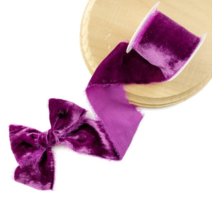 Amethyst Raw Edge Silk Velvet Ribbon