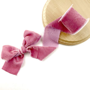 Rose Raw Edge Silk Velvet Ribbon