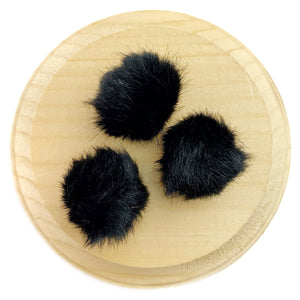 Set of 3 Black Faux Fur Pom Poms