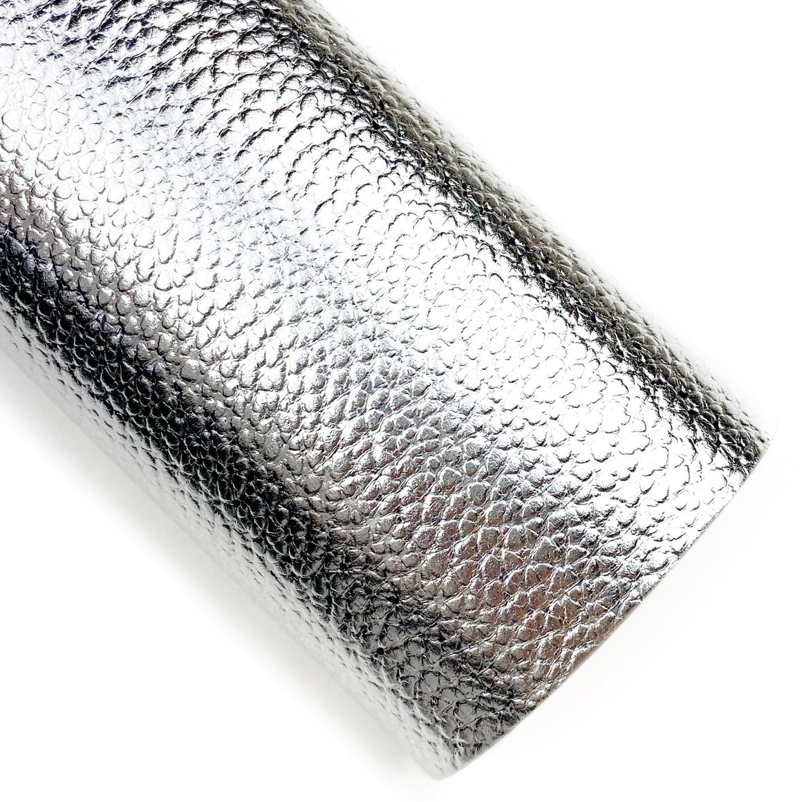 Silver Metallic Pebbled Vegan Leather