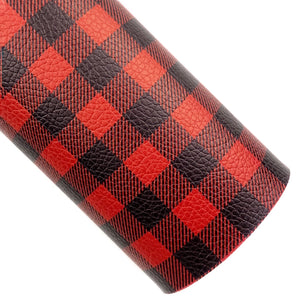 Red Buffalo Plaid Vegan Leather