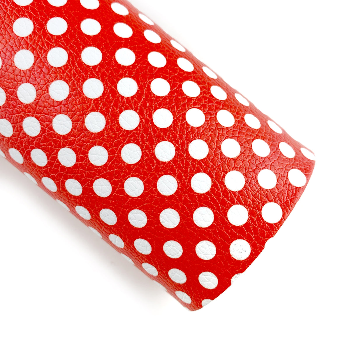 Red Polka Dots Vegan Leather