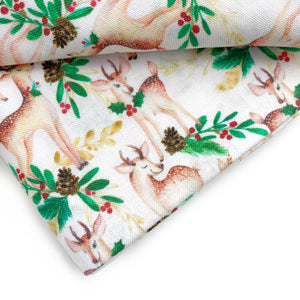 Sweet Holly Reindeer Cotton Fabric