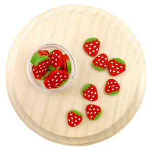 10mm Strawberry Polymer Clay Pieces