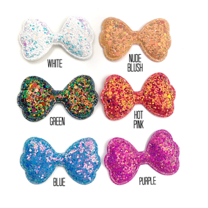 Set of 3 Glittered Bow Appliques