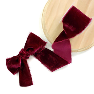 Wine Raw Edge Silk Velvet Ribbon