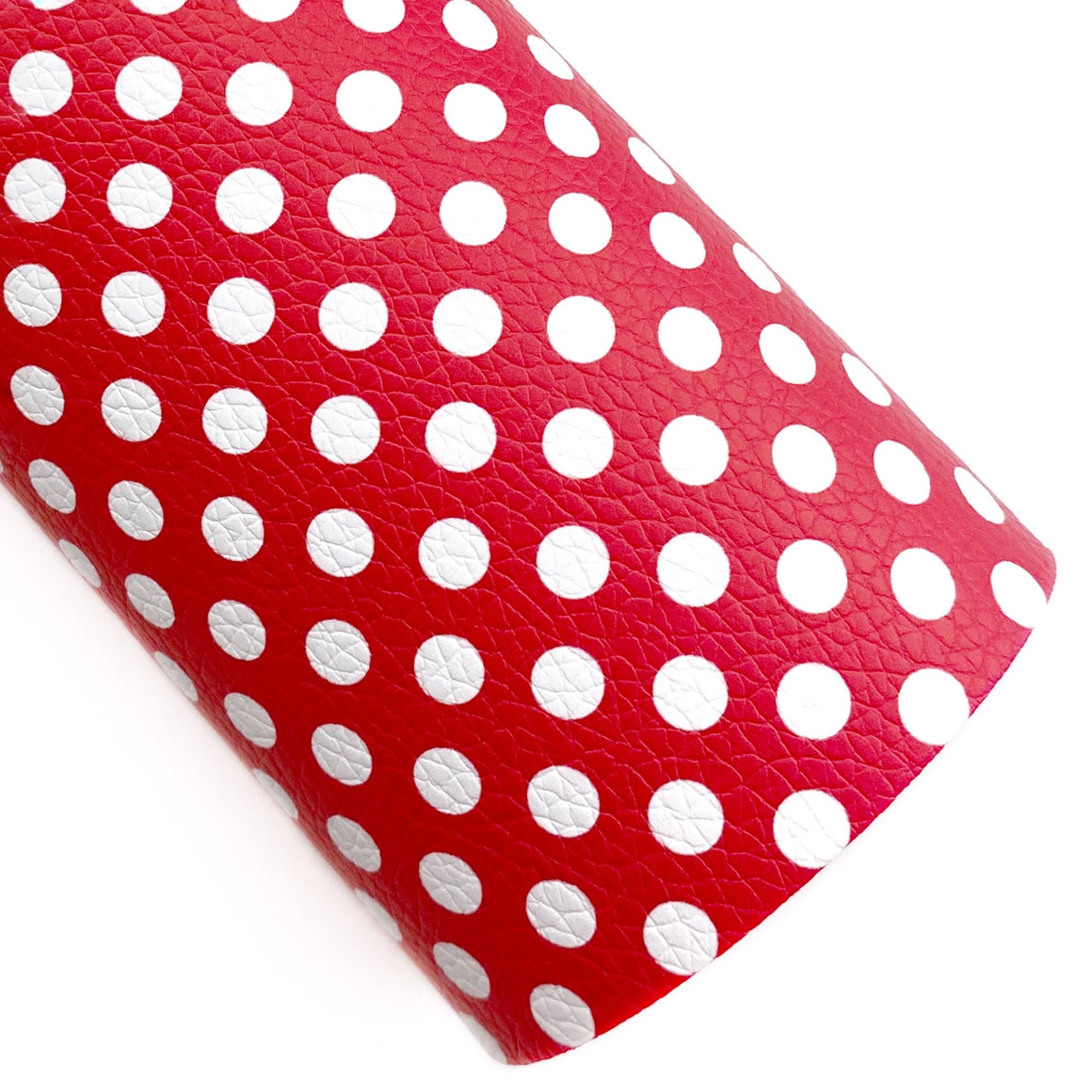 Rosy Red Polka Dots Vegan Leather