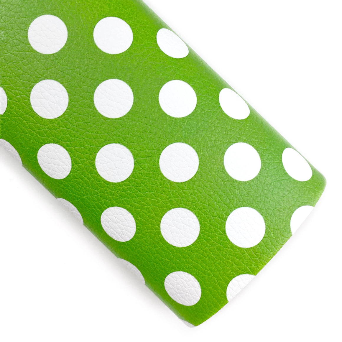 Green Large Polka Dots Vegan Leather