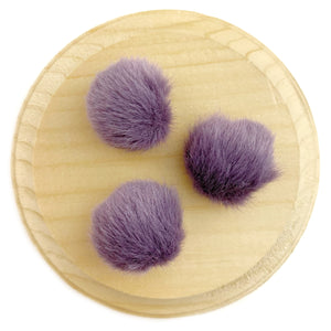 Set of 3 Plum Faux Fur Pom Poms