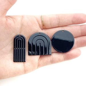 Black Earring Drop Pieces