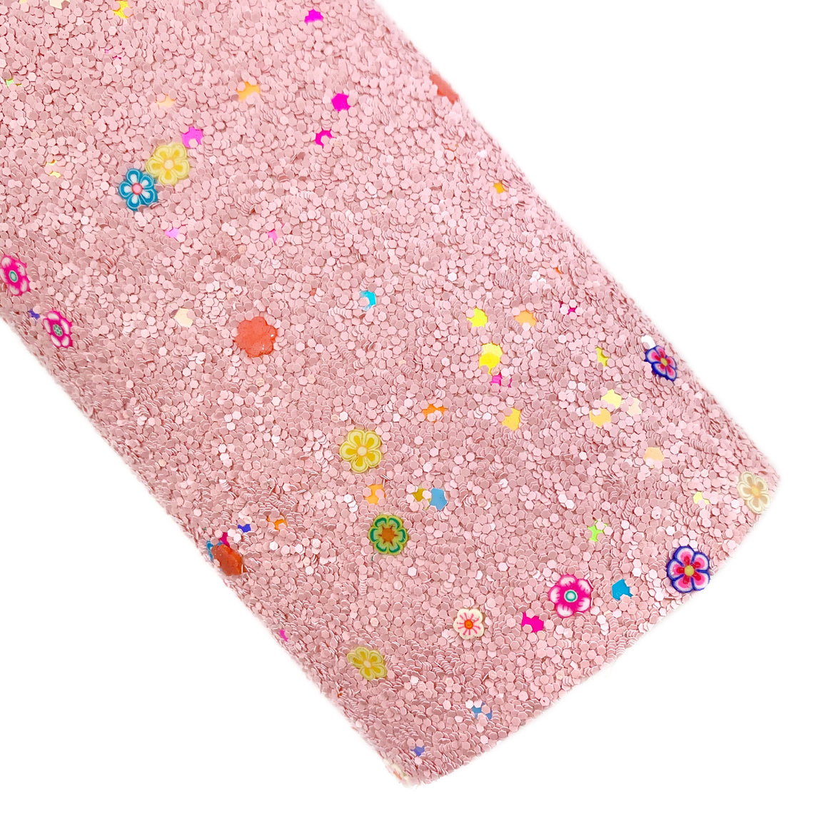 Pink Sprinkle of Flowers Chunky Glitter