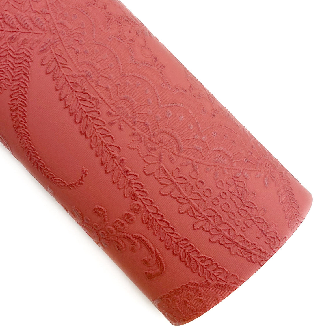 Burnt Red Applique Lace Embossed Vegan Leather