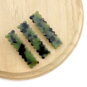 Camo Rectangle Scalloped Hair Clips