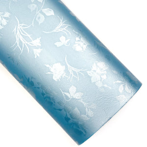 Sky Blue Floral Satin Vegan Leather