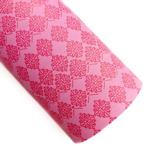 Pink Pottery Print Vegan Leather