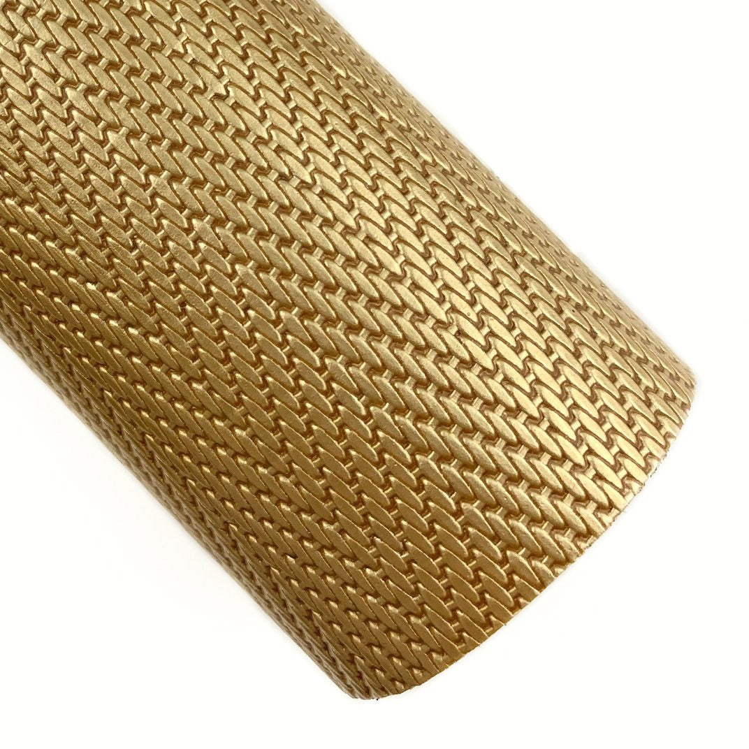 Gold Herringbone Embossed Patent Vegan Leather