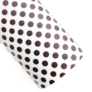 White with Black Polka Dots Vegan Leather