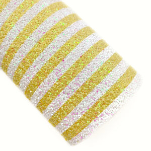 Lemon Stripes Iridescent Chunky Glitter
