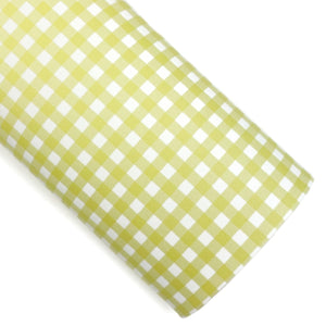 Yellow Gingham Vegan Leather