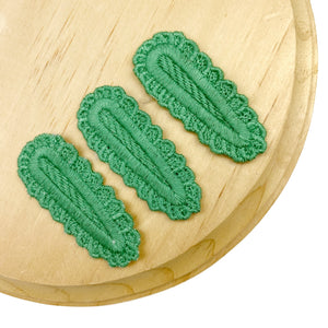 Set of 3 Green Crochet Snap Clip Covers