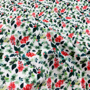 Boughs of Holly Plush Velvet Stretch Fabric