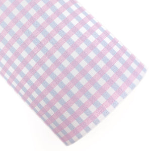Pink & Blue Gingham Vegan Leather