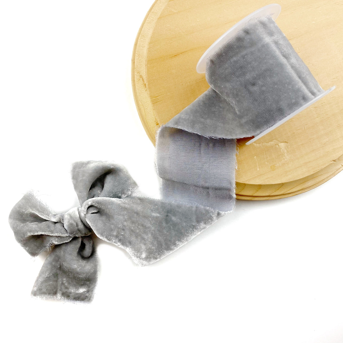 Grise Raw Edge Silk Velvet Ribbon