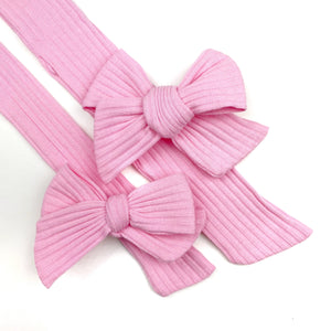 Pink Rib Knit JB Effortless Bow Strips - Closed Edge