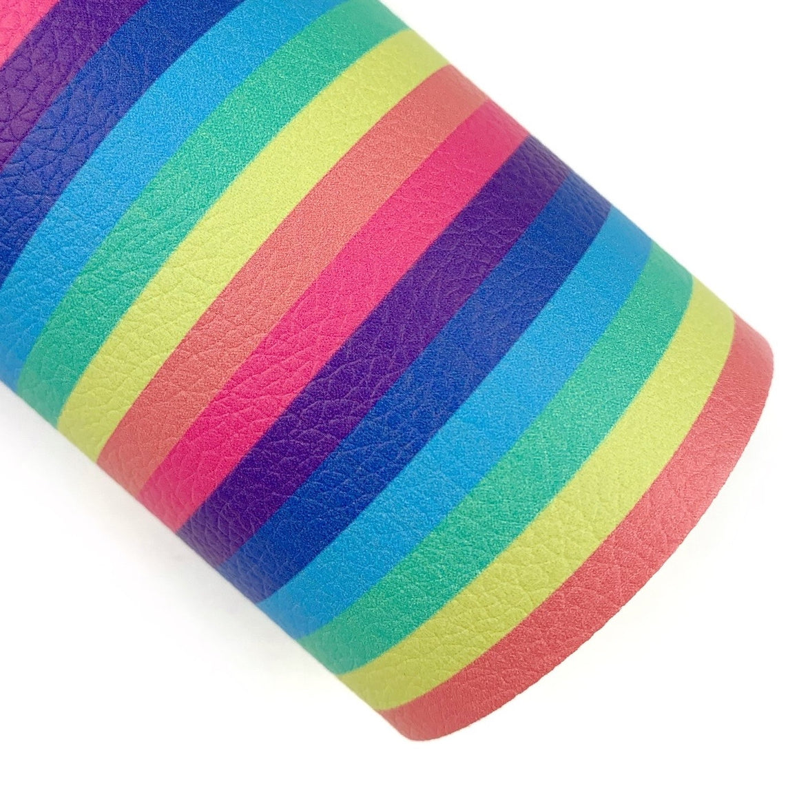 Muted Rainbow Stripes Vegan Leather