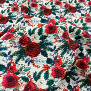 Burgundy & Evergreen Floral Bullet Fabric