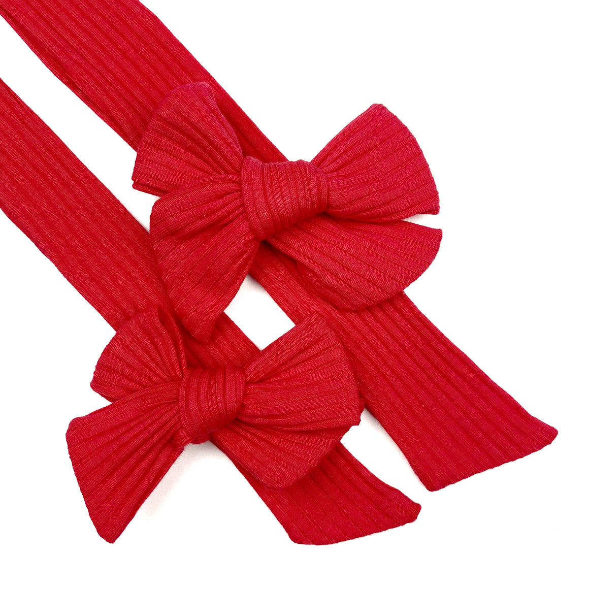 Red Rib Knit JB Effortless Bow Strips - Closed Edge