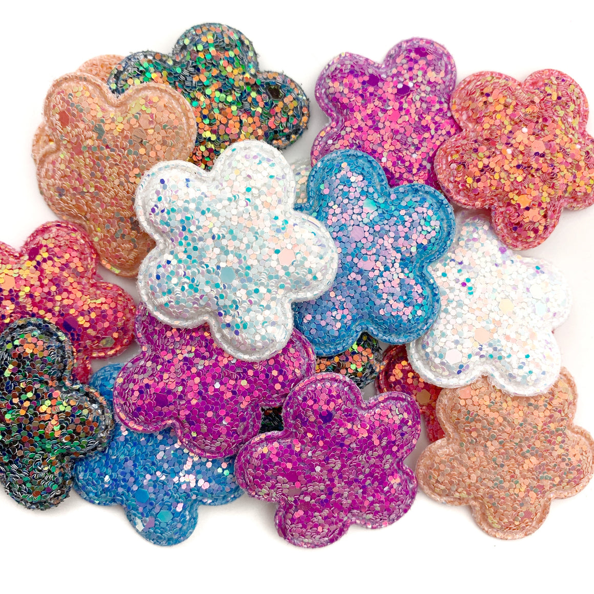 Set of 3 Glittered Flower Appliques